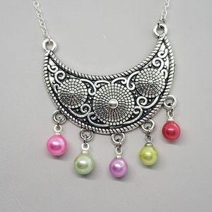 Pearl Rainbow Bib Necklace